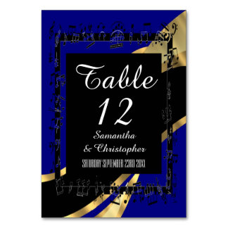 Navy blue, black and gold personalised number card