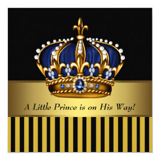 Navy Blue Black and Gold Prince Baby Boy Shower 13 Cm X 13 Cm Square Invitation Card