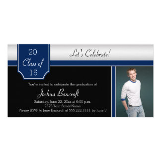 Navy Blue Black Silver Photo Graduation Party Photo Card Template