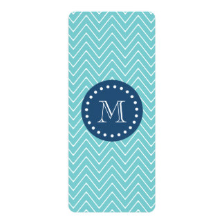 Navy Blue, Blue Chevron Pattern   Your Monogram 4x9.25 Paper Invitation Card
