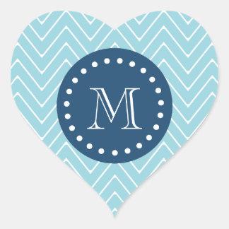 Navy Blue, Blue Chevron Pattern   Your Monogram Stickers