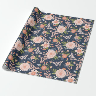 Navy Blue & Blush Botanical Floral Wrapping Paper