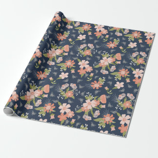 Navy Blue & Blush Floral & Bees Wrapping Paper
