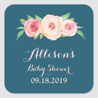 Navy Blue Blush Pink Floral Baby Shower Tag Square Sticker