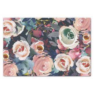 Navy Blue Blush Pink Pastel Floral Modern Chic Tissue Paper