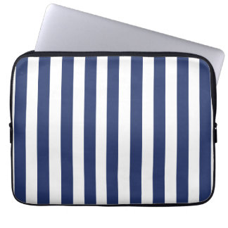 NAVY BLUE BOLD FUN STRIPES PATTERN LAPTOP SLEEVE