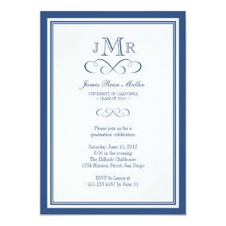 Navy blue border frame classy monogram graduation 5x7 paper invitation card