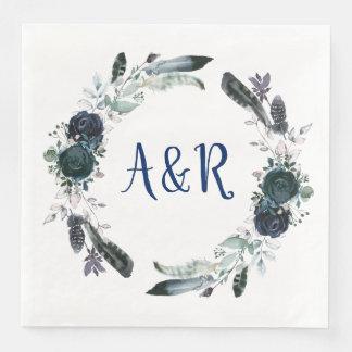 Navy Blue Bouquet Wreath Monogram Paper Napkins