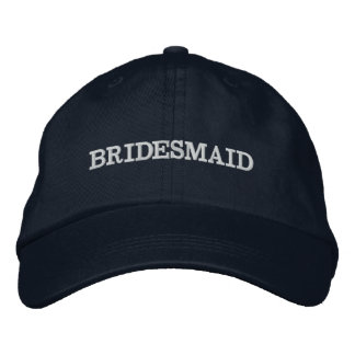 Navy Blue Bridesmaid Usher Adjustable Hat Embroidered Hat