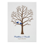 Navy Blue Brown Birds Fingerprint Tree Wedding Poster