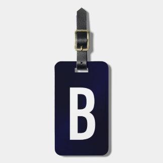Navy Blue Brushed Metallic Monogram Initial Luggage Tag