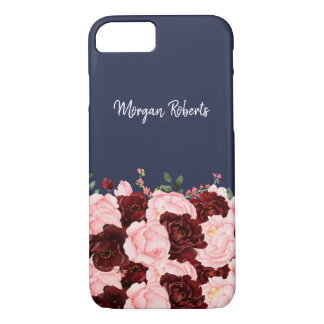 Navy Blue Burgundy Red & Blush Pink Rose Flowers iPhone 8/7 Case
