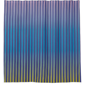 Navy Blue & Candy Gradient Stripes Shower Curtain