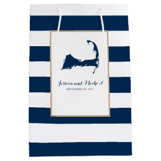 Navy Blue Cape Cod Map and Stripes Medium Gift Bag