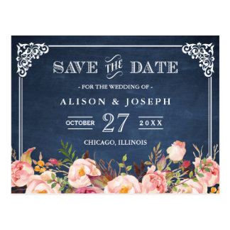 Navy Blue Chalkboard Floral Wedding Save the Date Postcard