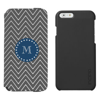 Navy Blue, Charcoal Gray Chevron Pattern Incipio Watson™ iPhone 6 Wallet Case