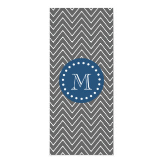Navy Blue, Charcoal Gray Chevron Pattern | Your Mo 10 Cm X 24 Cm Invitation Card