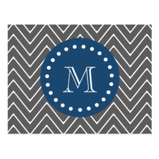Navy Blue Charcoal Gray Chevron Pattern Your Mo Postcard