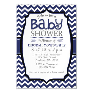 Navy Blue Chevron Magnetic Baby Shower Invite Magnetic Invitations