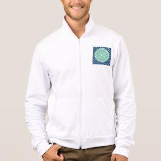 Navy Blue Chevron Pattern   Mint Green Monogram Jacket
