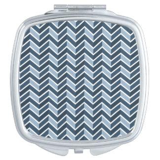 Navy Blue Chevron Pattern Travel Mirrors