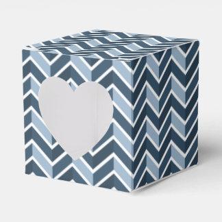 Navy Blue Chevron Pattern Wedding Favour Box