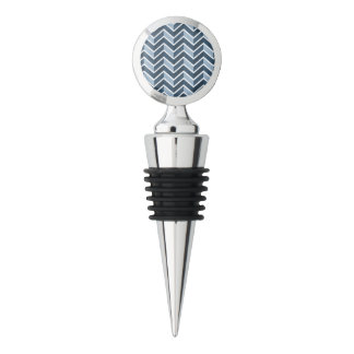 Navy Blue Chevron Pattern Wine Stopper