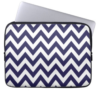 Navy Blue Chevron Stripes Laptop Sleeve