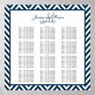 Navy Blue Chevron Wedding Seating Chart 150 Poster