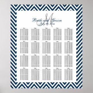 Navy Blue Chevron Wedding Seating Chart 200 Poster