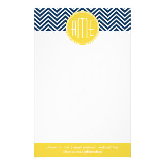 Navy Blue Chevrons with Custom Yellow Monogram Stationery