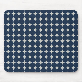 Navy Blue Circles and Silver Diamonds Pattern Gift Mouse Pad