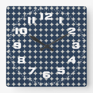 Navy Blue Circles and Silver Diamonds Pattern Gift Wallclock