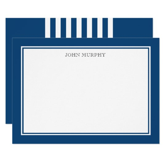 Navy Blue Classic Frame Thank you Flat Note Card