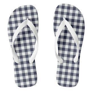 Navy Blue Classic Gingham Flip Flops Adult