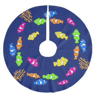 Navy Blue Clown Fish Undersea Christmas Tree Skirt