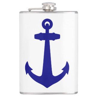 Navy Blue Coastal Decor Anchor Flask