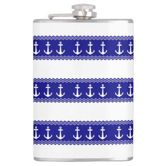 Navy Blue Coastal Pattern Anchors Flask