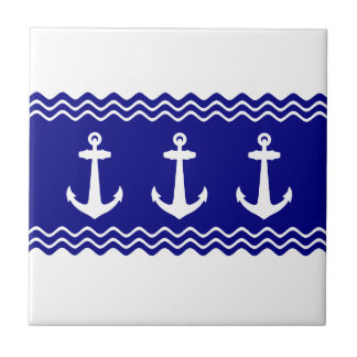 Navy Blue Coastal Pattern Anchors Small Square Tile
