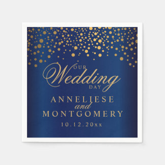 Navy Blue & Confetti Gold Dots Our Wedding Day Paper Napkin