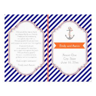 Navy blue, coral nautical wedding program flyer