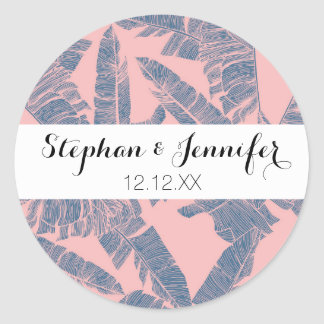 Navy Blue Coral Pink Banana Leaves Pattern Classic Round Sticker