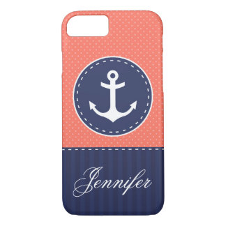 Navy Blue Coral Pink Pattern Anchor Customizable iPhone 7 Case
