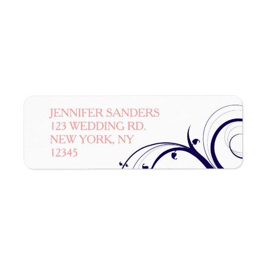 Navy Blue Coral Swirls Wedding Return Address Label
