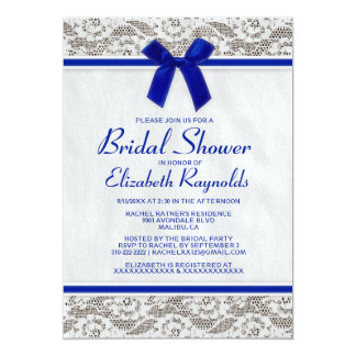 "Navy Blue Country Lace Bridal Shower Invitations 5"" X 7"" Invitation Card"