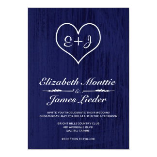 Navy Blue Country Wedding Invitations