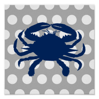 Navy Blue Crab Gray and White Polka Dots Poster