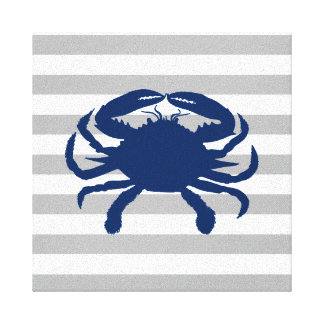 Navy Blue Crab Gray and White Stripes Canvas Print