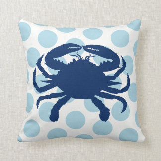Navy Blue Crab Light Blue Polka Dot Cushion