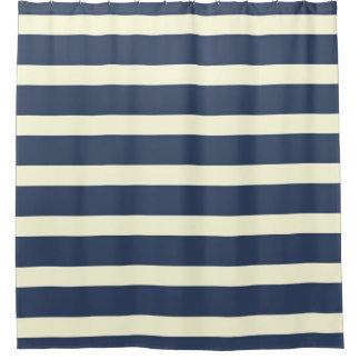 Navy blue cream stripes shower curtain
